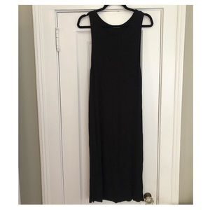 Splendid 2x1 Ribbed Black Midi Dress